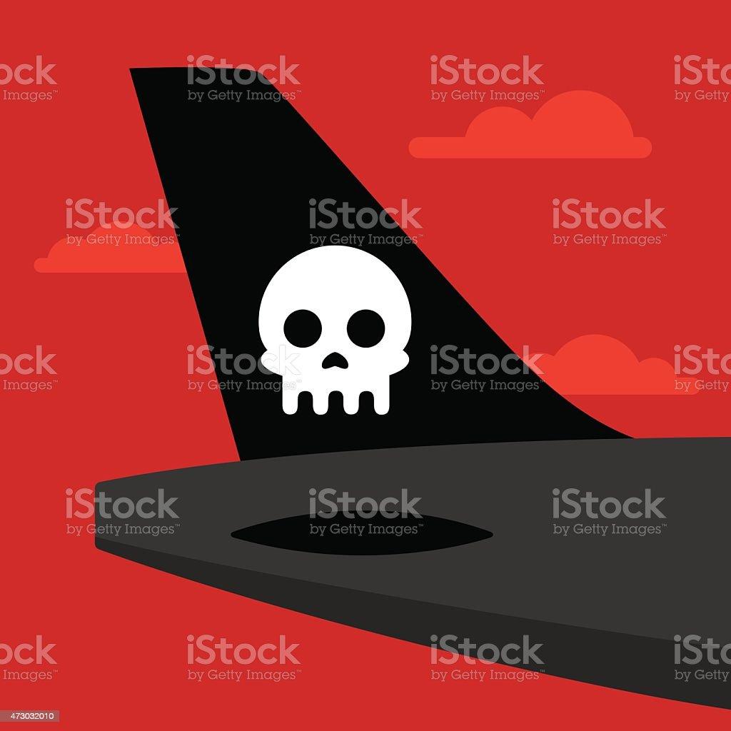 Airplane Tail Skull vector art illustration