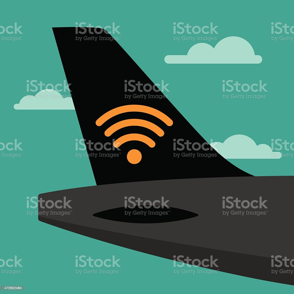 Airplane Tail Wifi vector art illustration