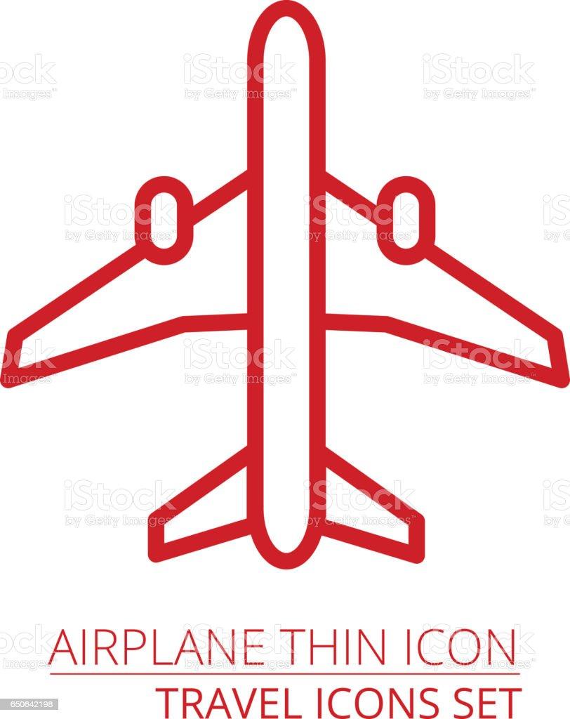 Airplane thin icon vector art illustration