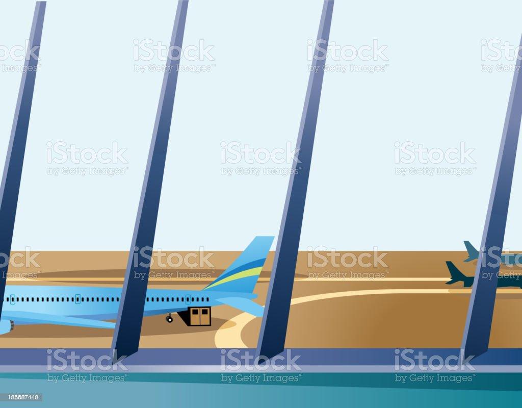 Airplane through window vector art illustration