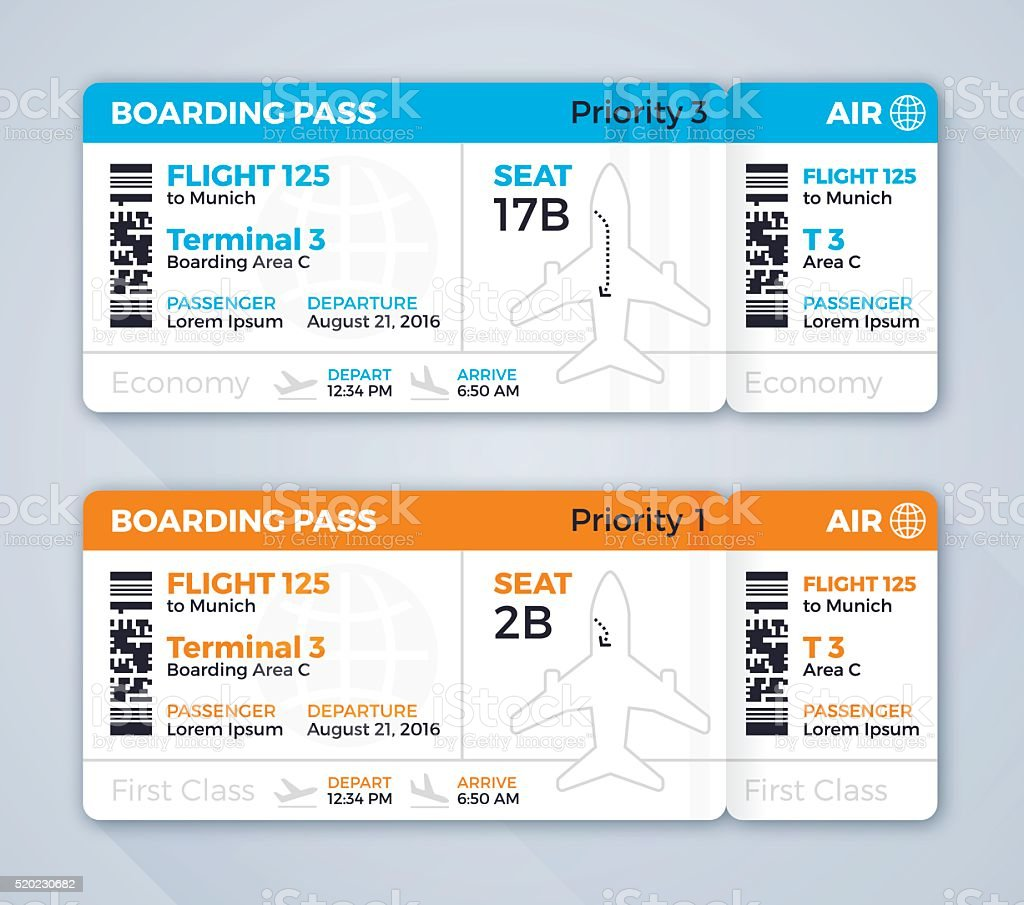 Airplane Ticket Boarding Pass vector art illustration