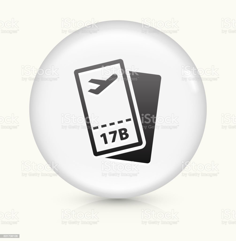 Airplane Tickets icon on white round vector button vector art illustration