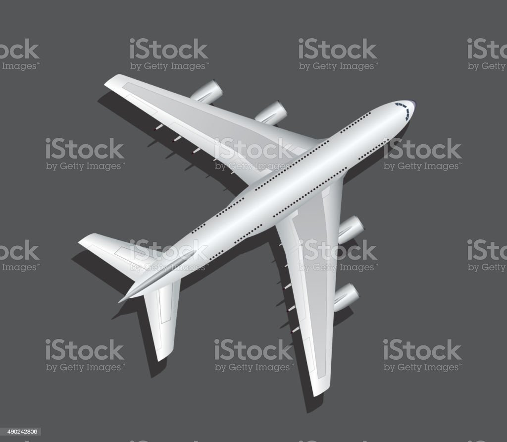 Airplane top view vector art illustration