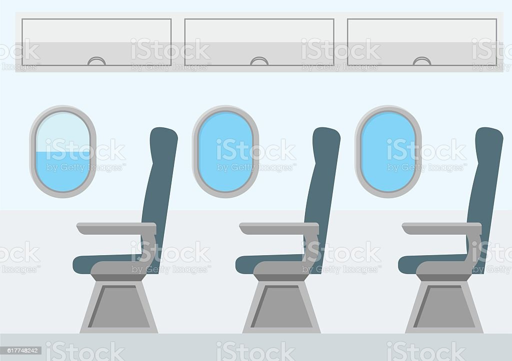 Airplane Transport Interior. Jet for Travel. Vector vector art illustration