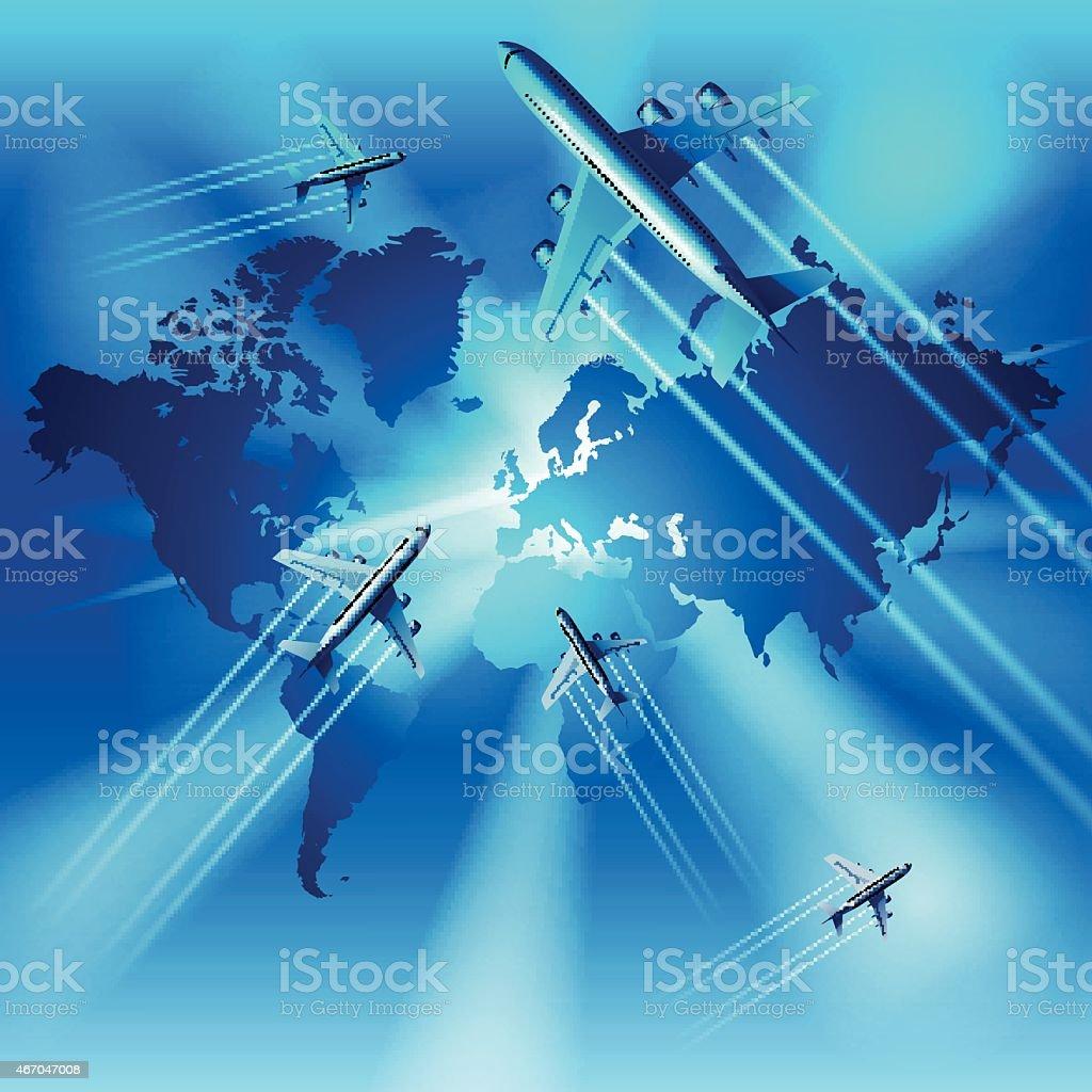 Airplane transportation vector art illustration