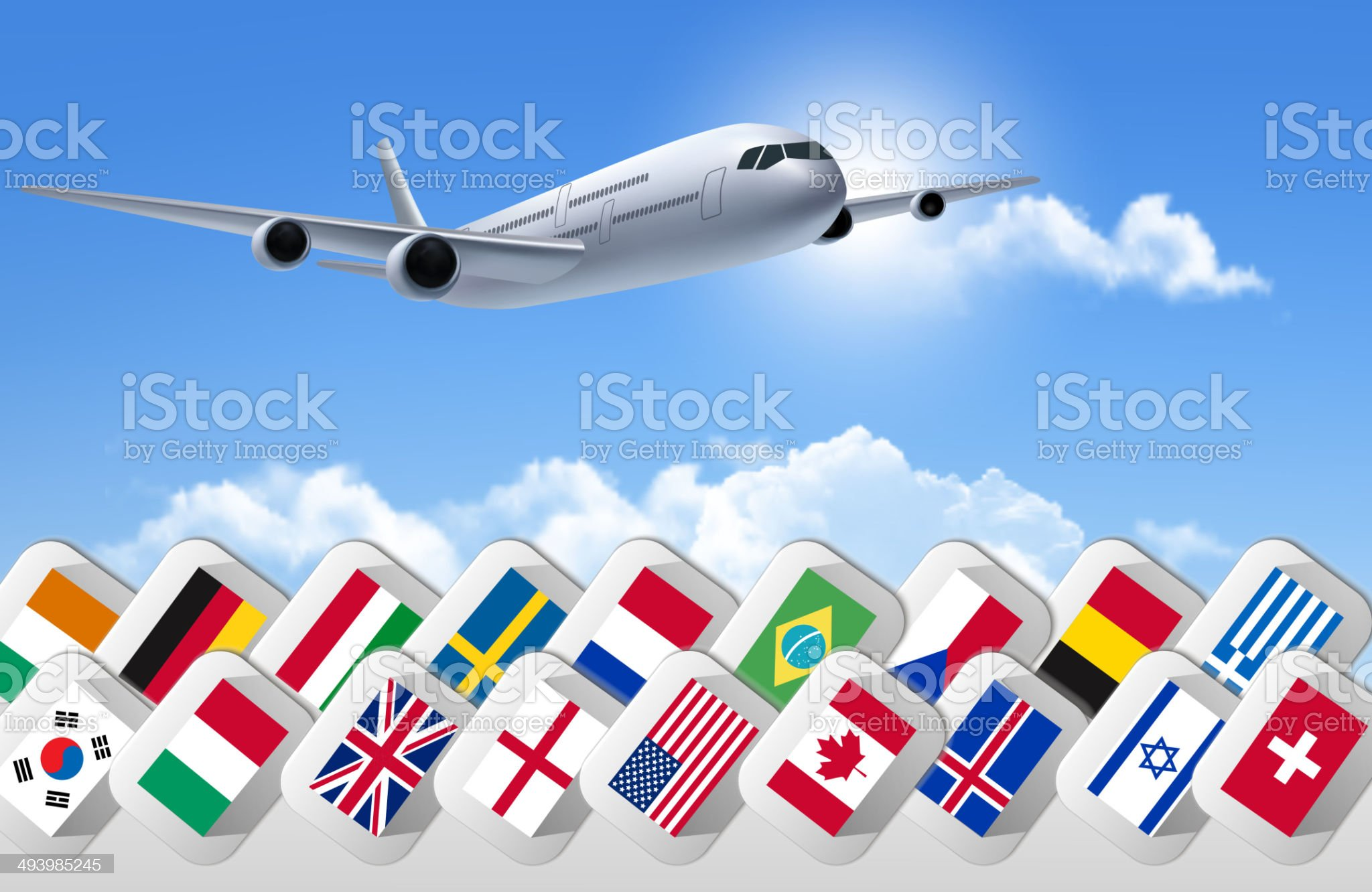 Airplane travel background with flags of different countries. Ve royalty-free stock vector art