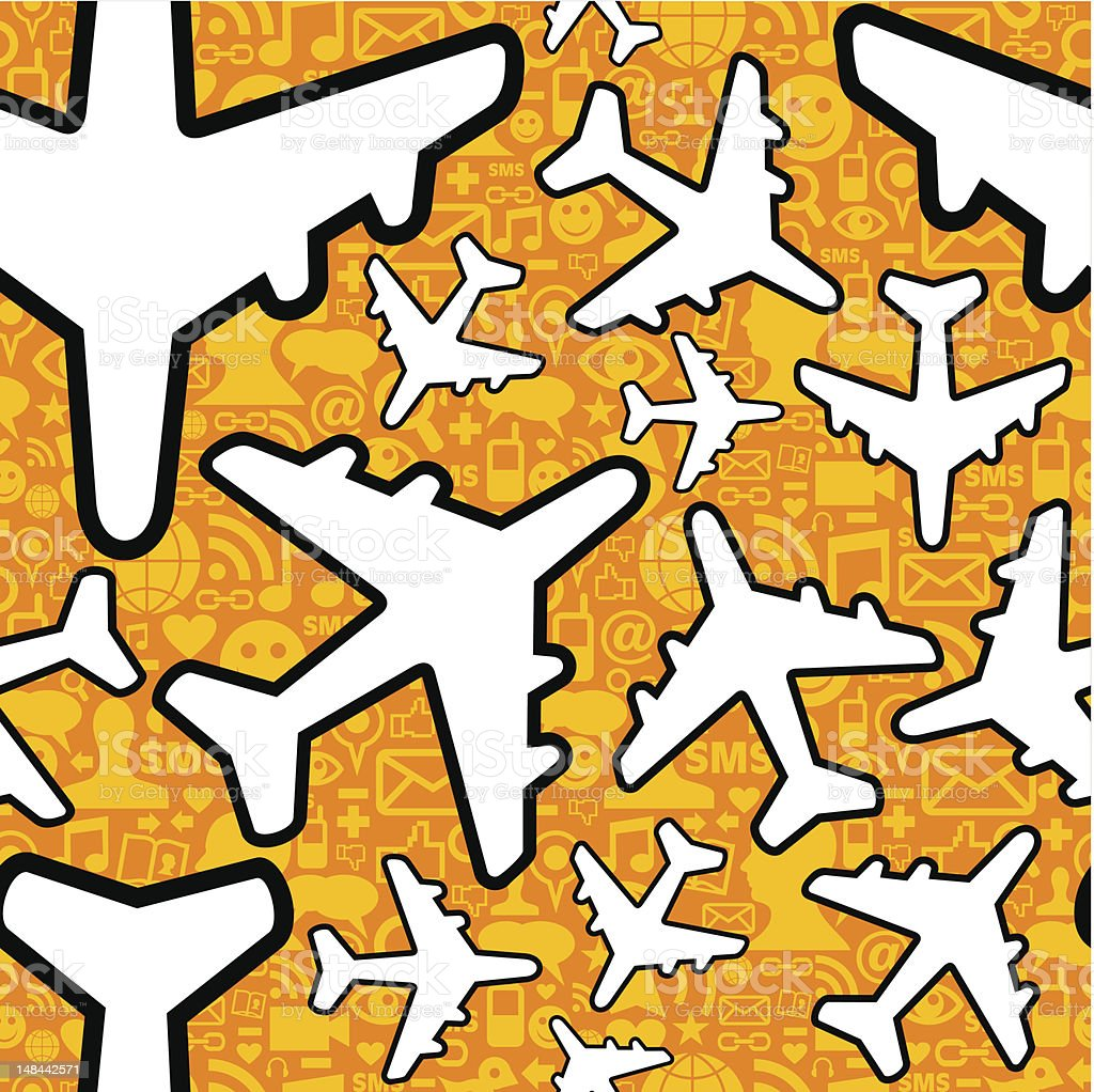 Airplane travel business pattern royalty-free stock vector art