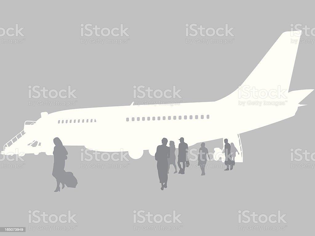Airplane Unloading royalty-free stock vector art