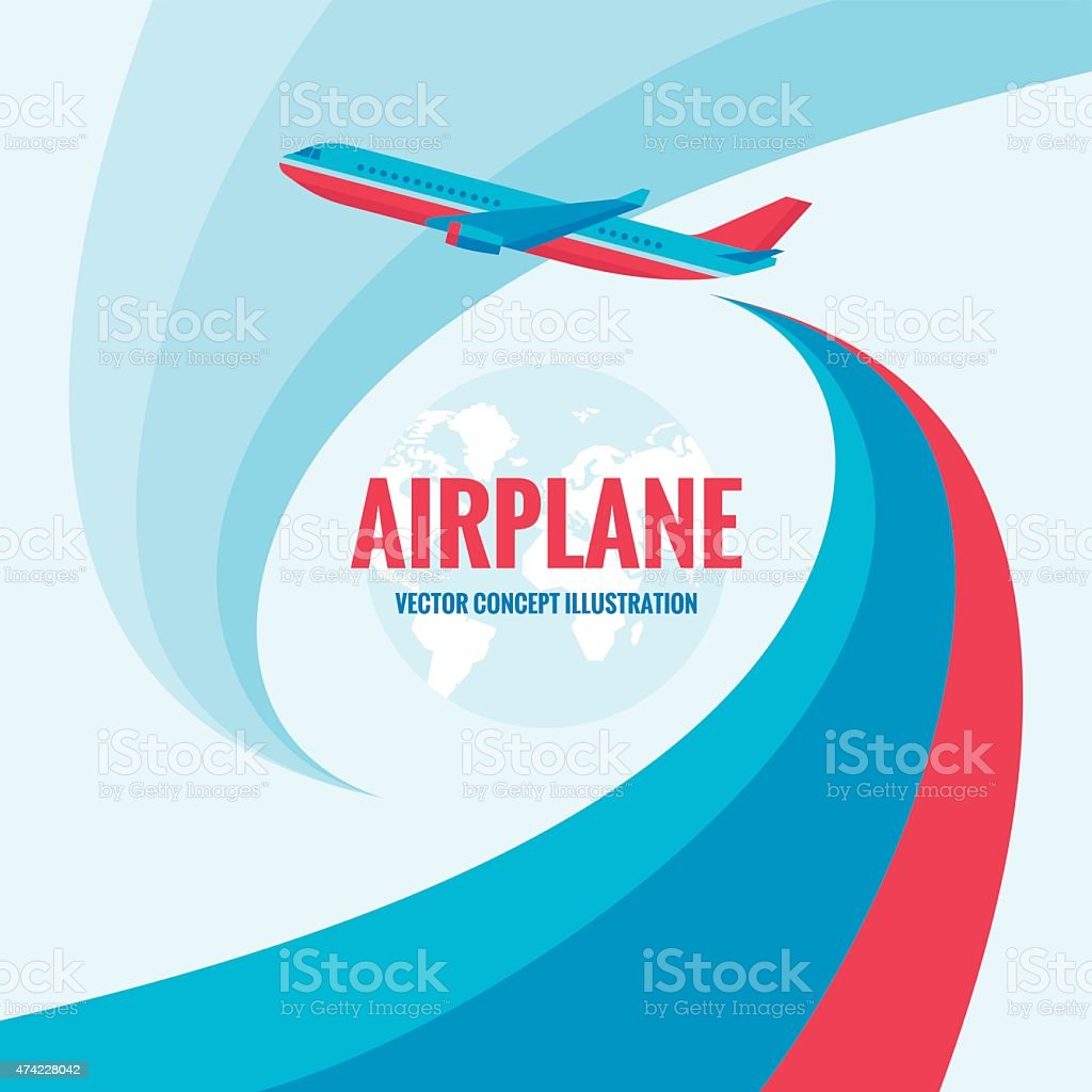 Airplane - vector concept illustration with abstract background vector art illustration