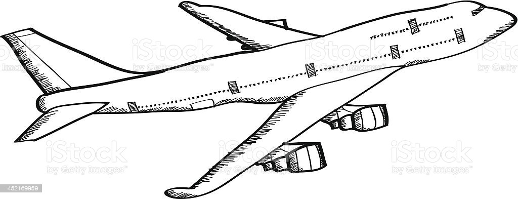 Airplane Vector Line Sketched Up. royalty-free stock vector art
