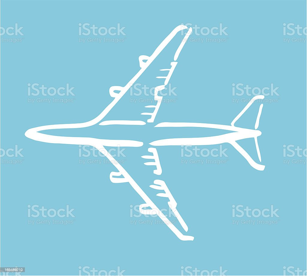Airplane white sketch royalty-free stock vector art