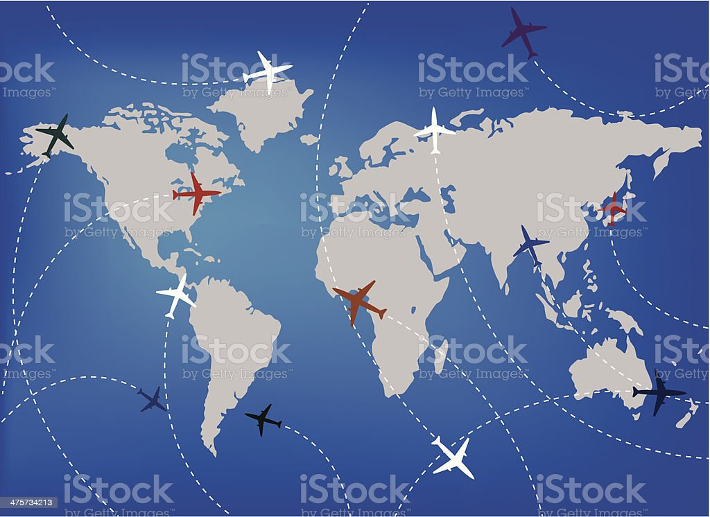 Airplanes and map royalty-free stock vector art