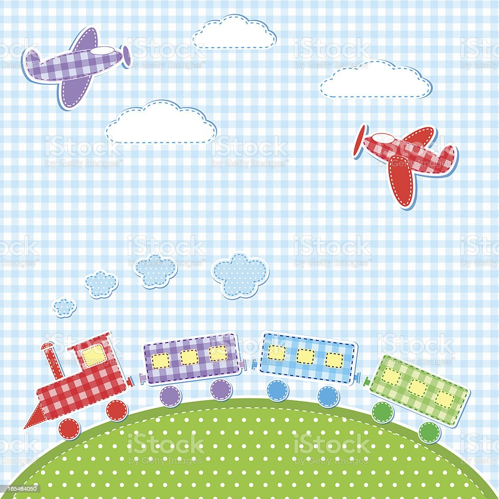 Airplanes and train royalty-free stock vector art