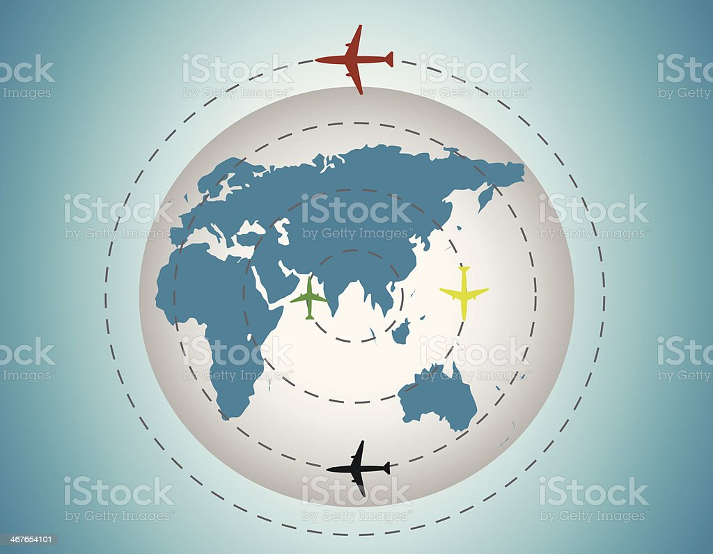 Airplanes around the globe royalty-free stock vector art