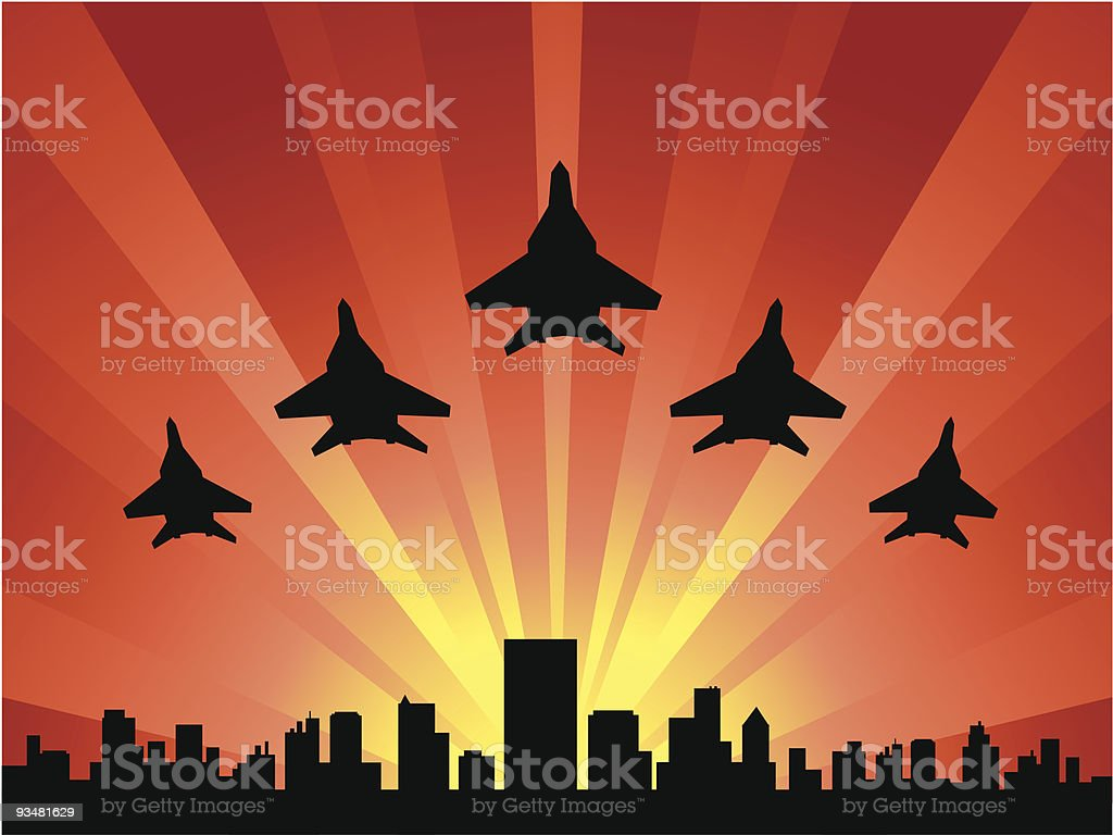 Airplanes at dawn royalty-free stock vector art