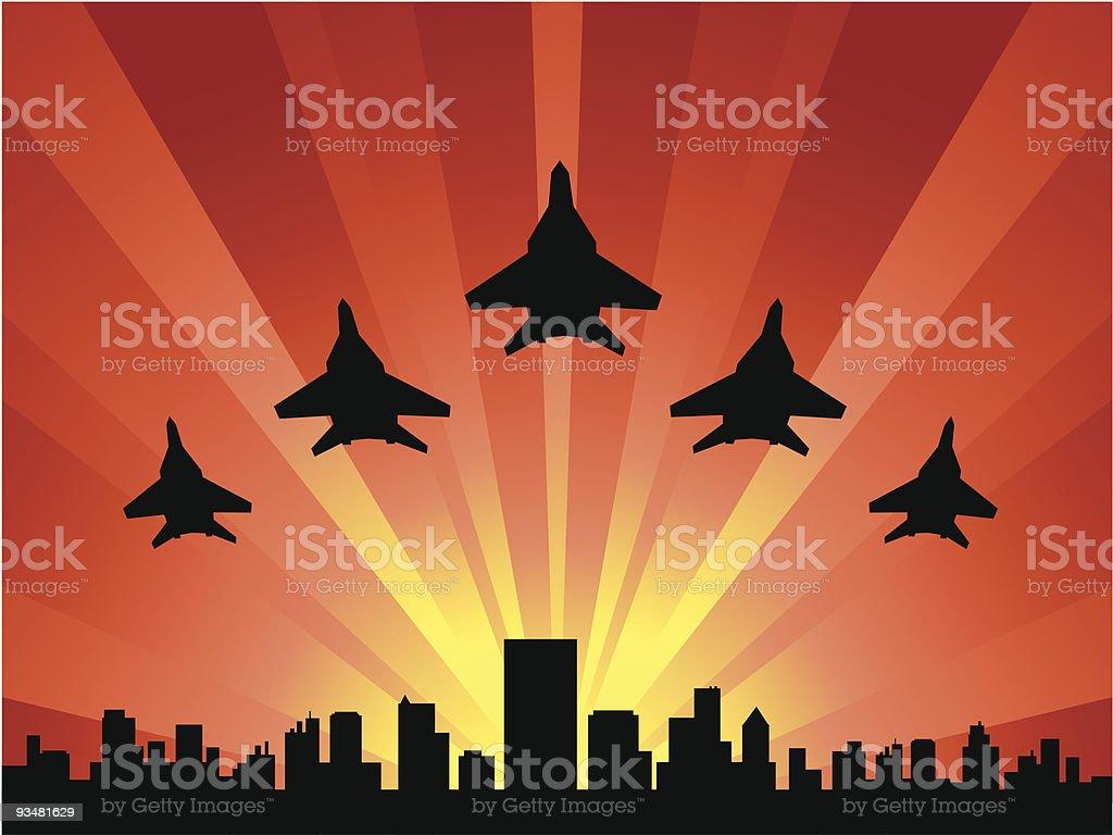 Airplanes at dawn vector art illustration