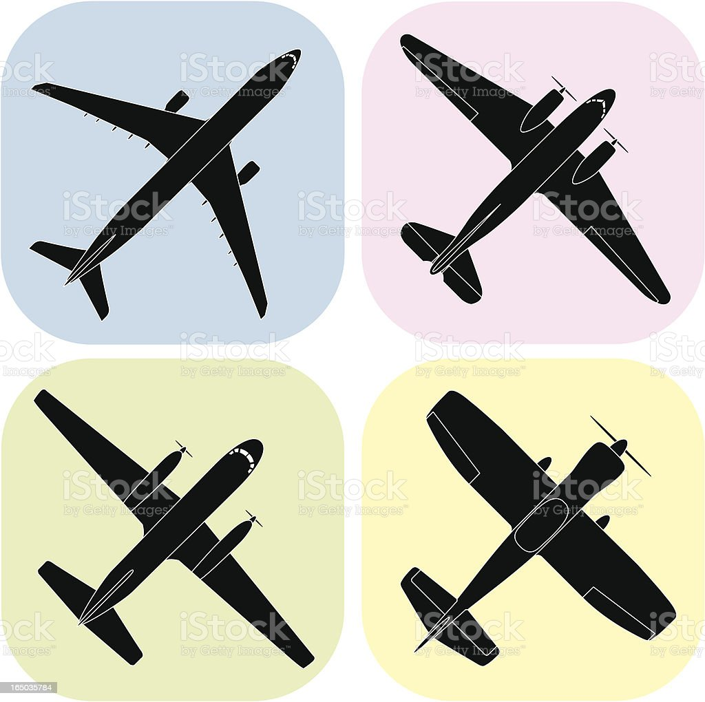 Airplanes (vector) design elements and symbols vector art illustration