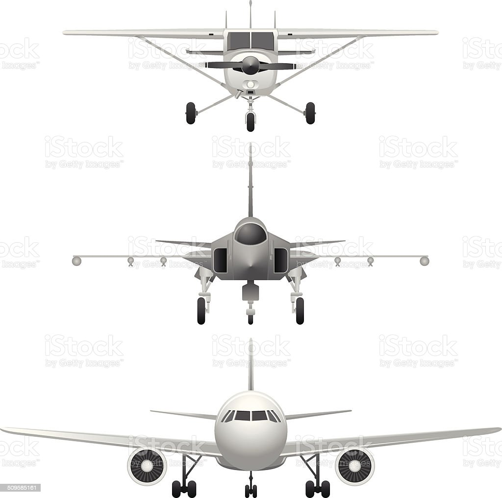 Airplanes frontviews vector art illustration