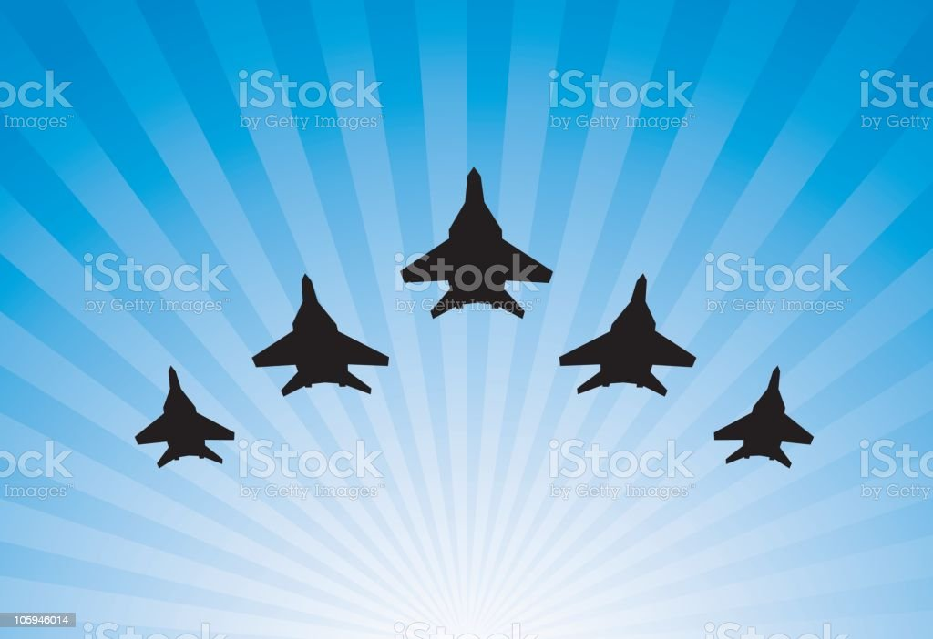 Airplanes parade vector art illustration