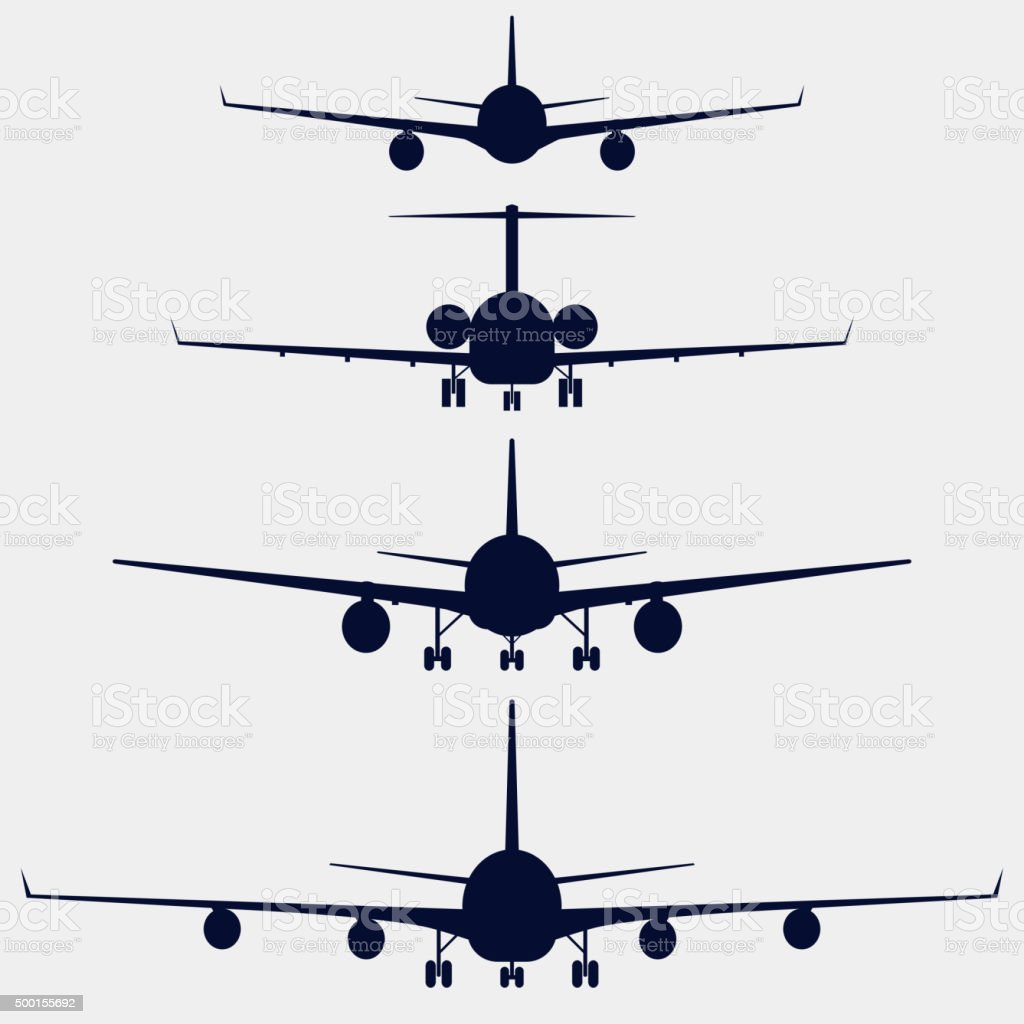Airplanes silhouette front view vector art illustration