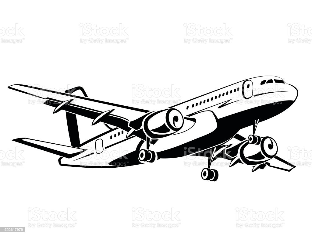 Airplanes silhouettes high detailed, monochrome style. Business and travel. vector art illustration