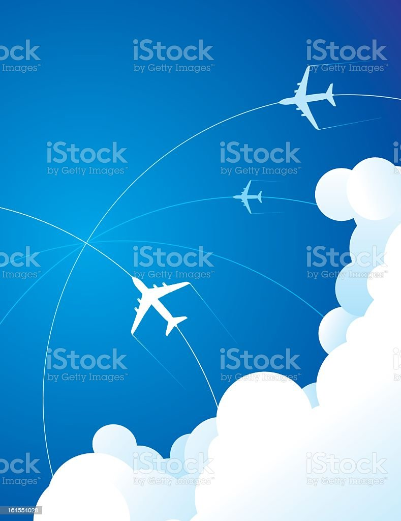 Airplanes traveling through the clouds in the sky royalty-free stock vector art