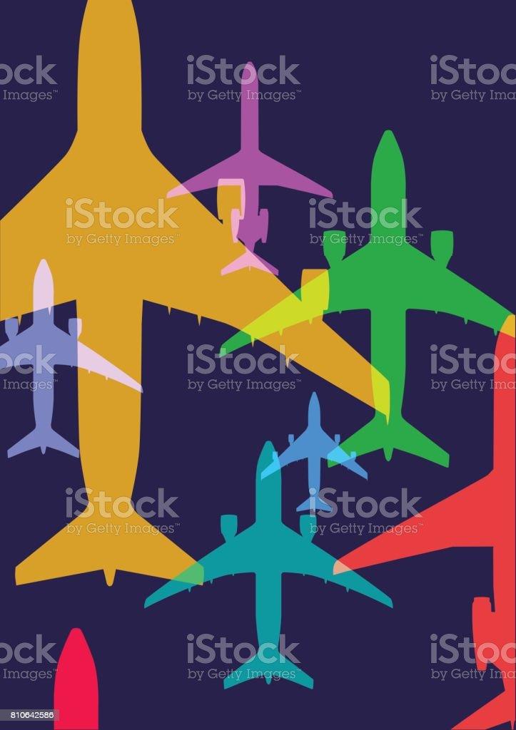 Airplanes vector art illustration