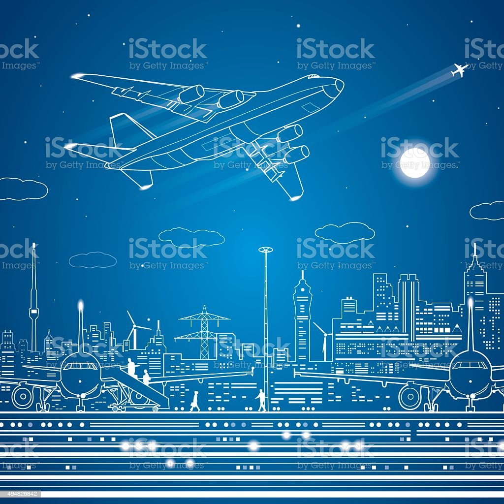 Airport, airplane fly, city infrastructure vector art illustration