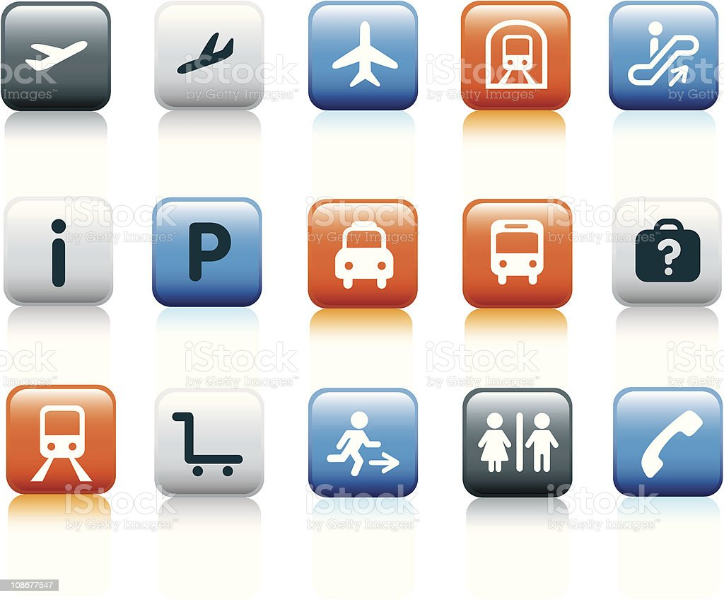airport and train station icon set on white royalty-free stock vector art