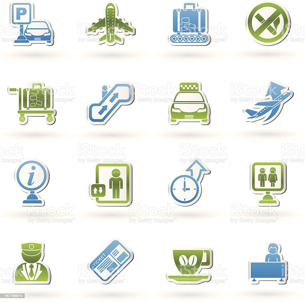 Airport and transportation icons royalty-free stock vector art