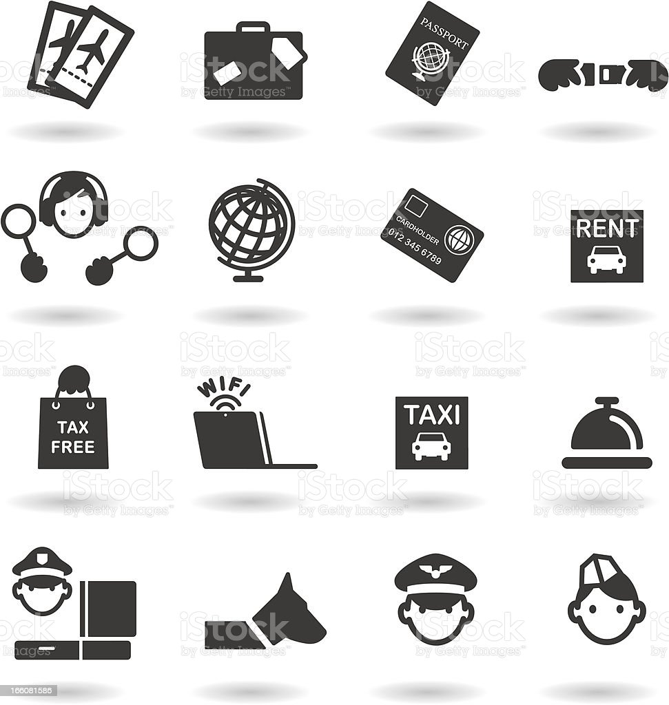 Airport and Travel icons royalty-free stock vector art