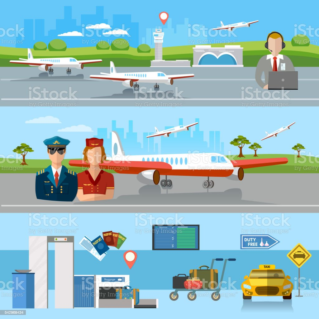 Airport banner airport terminal aircraft runway airline pilot vector art illustration