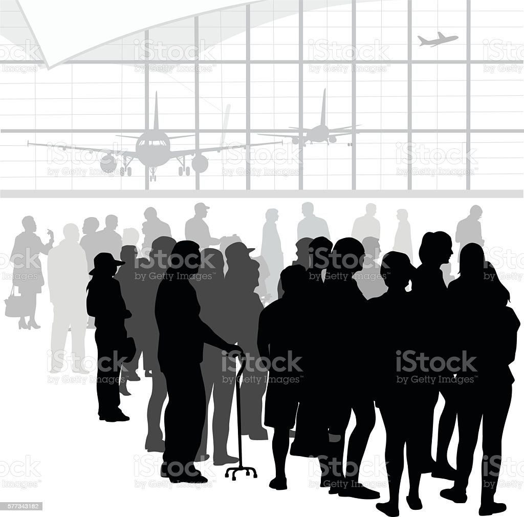 Airport Business Crowd Rush vector art illustration