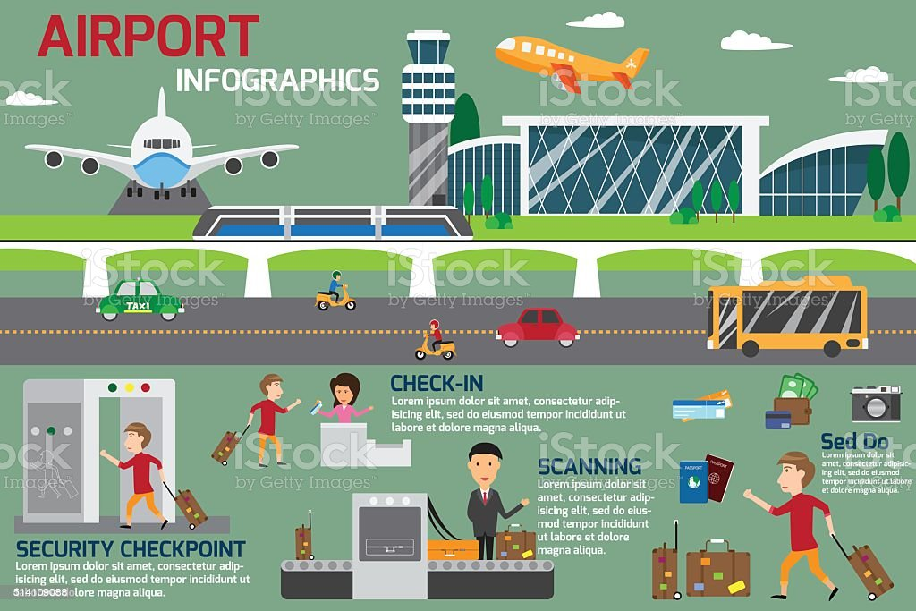 Airport business infographics template and travel element. vecto vector art illustration