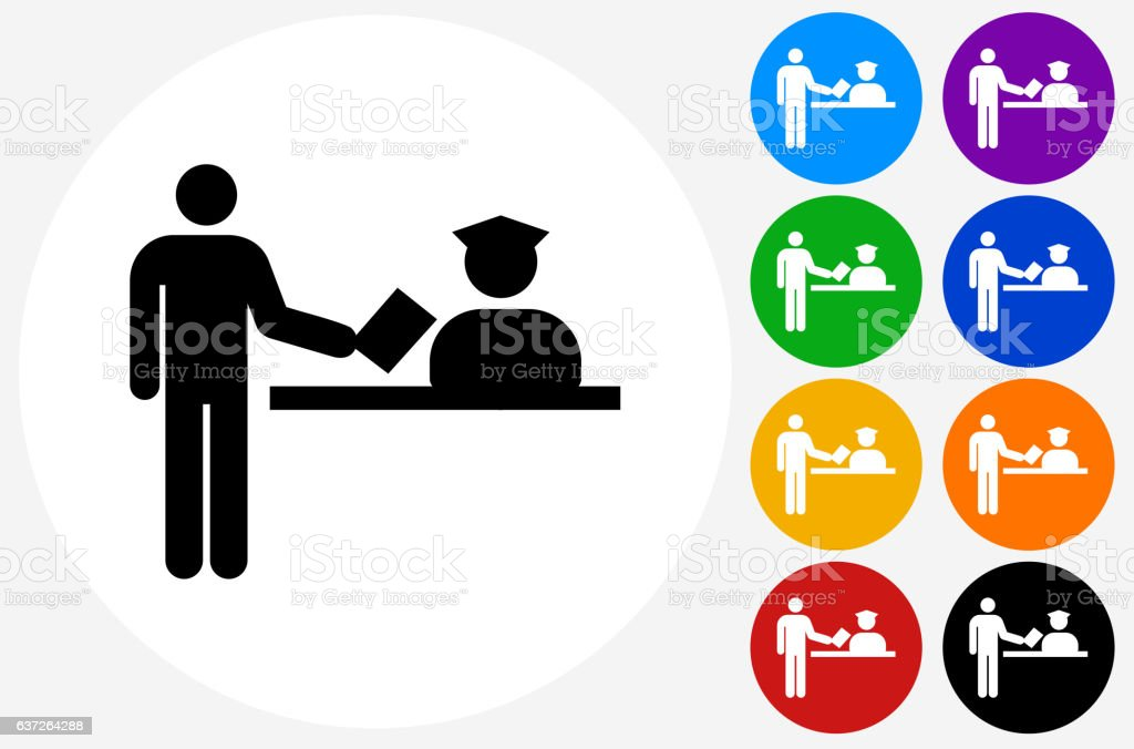 Airport Check In Icon on Flat Color Circle Buttons vector art illustration