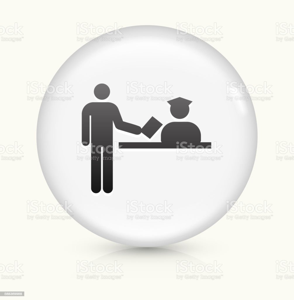 Airport Check In icon on white round vector button vector art illustration