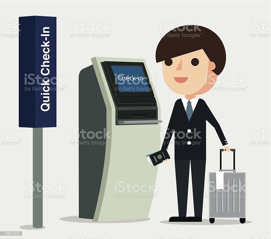 Airport Check In - Illustration vector art illustration