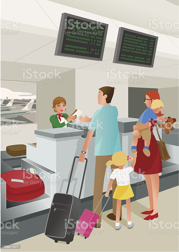 Airport Check-In Counter vector art illustration
