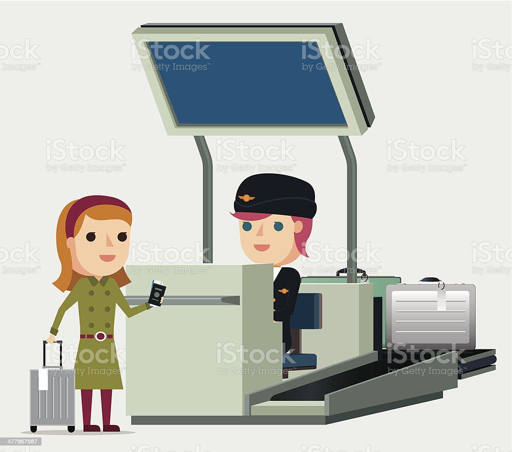 Airport Check-In - Illustration vector art illustration