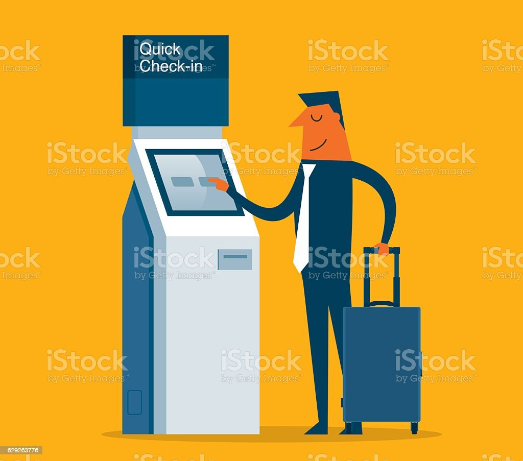 Airport Check-In vector art illustration