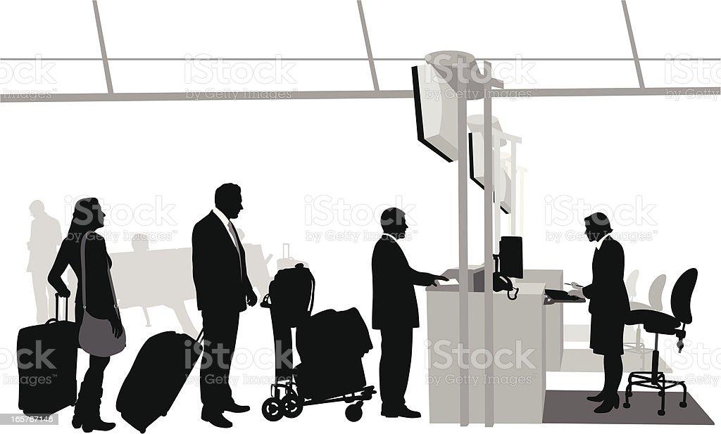 Airport CheckIn Vector Silhouette vector art illustration