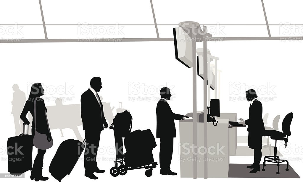 Airport CheckIn Vector Silhouette vector art illustration