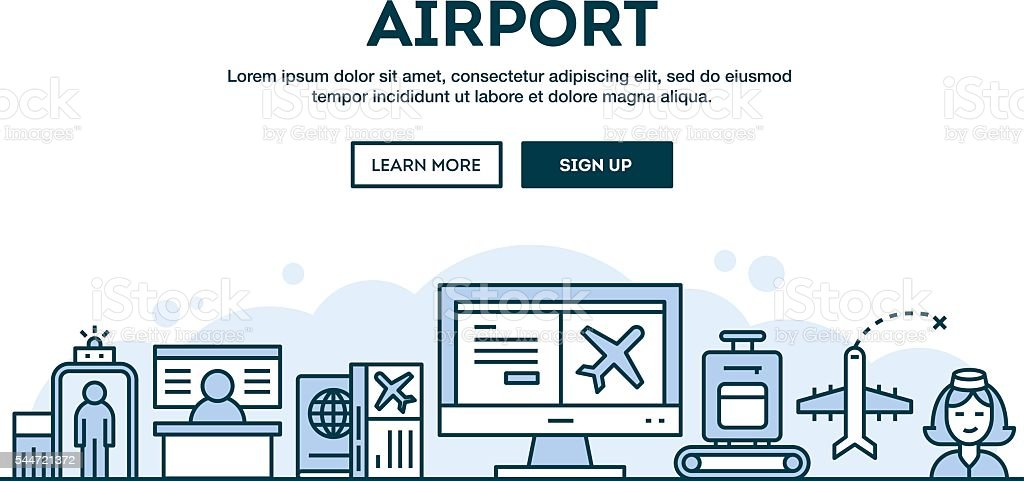 Airport, concept header, flat design thin line style vector art illustration
