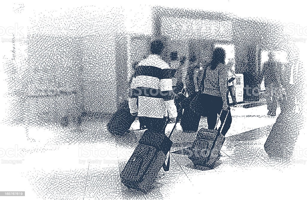 Airport Crowd vector art illustration