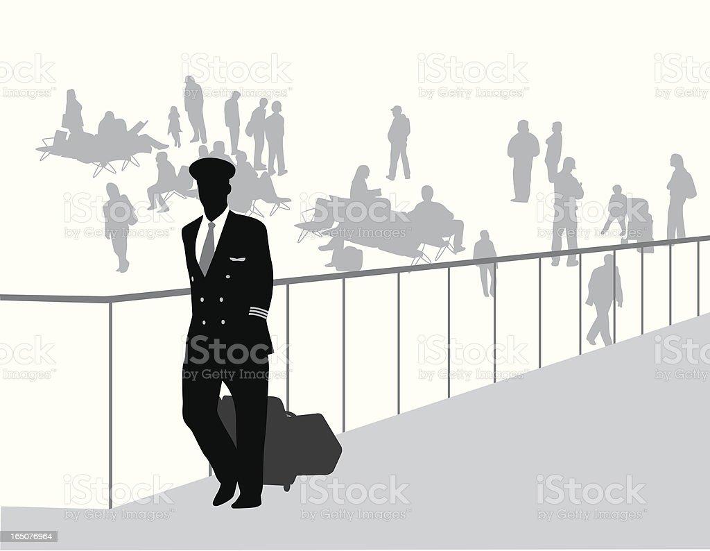 Airport Crowd Vector Silhouette vector art illustration