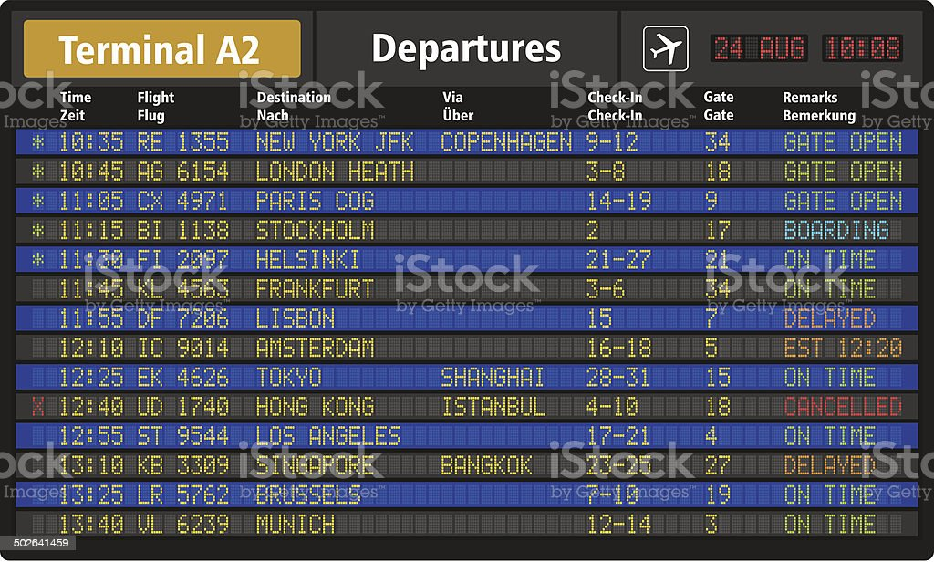 Airport departure board vector art illustration