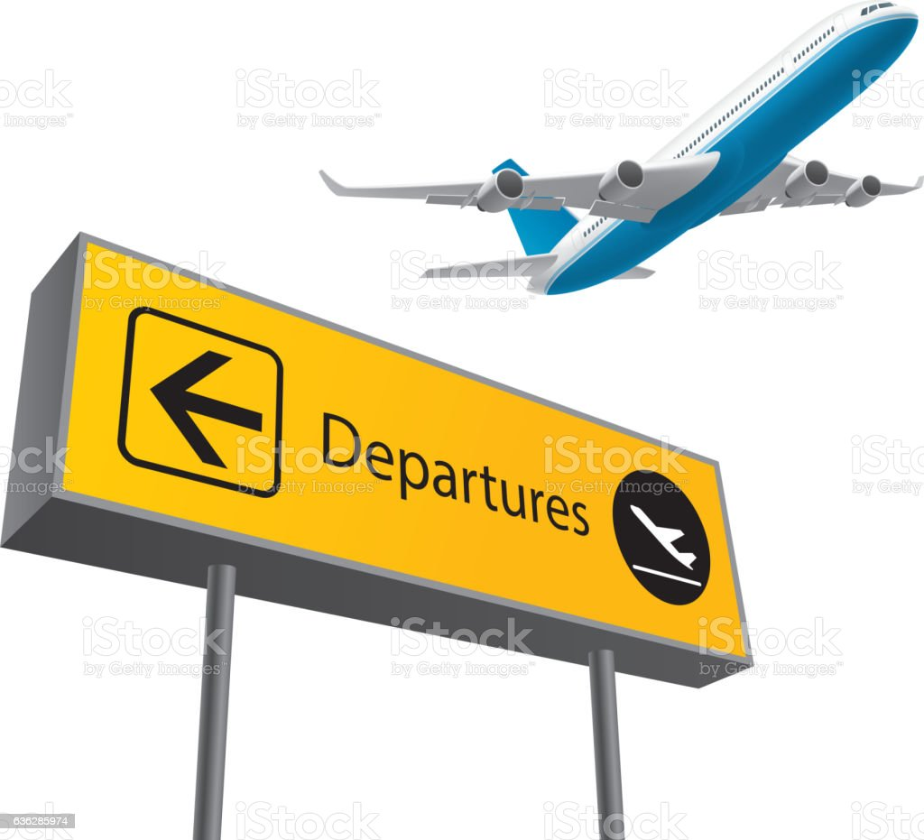 Airport departures board vector art illustration