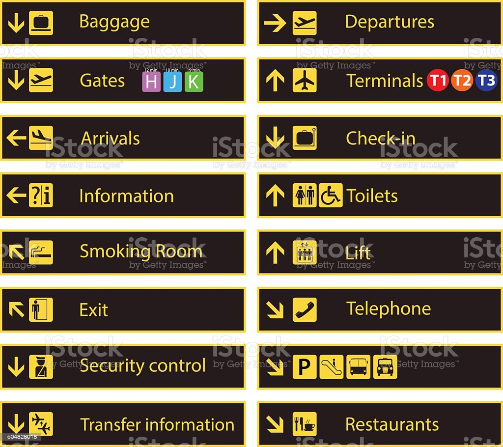 Airport direction signs vector art illustration