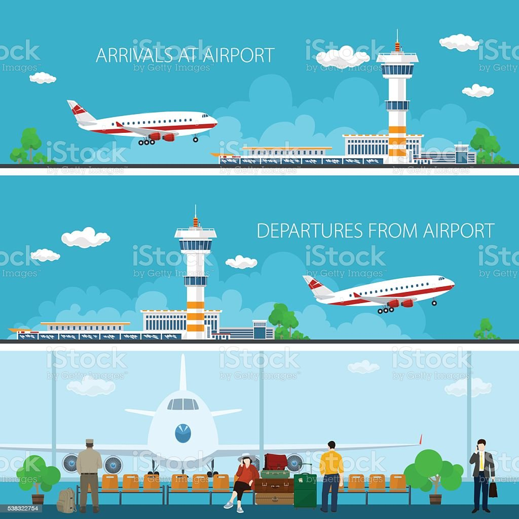 Airport Horizontal Banners vector art illustration