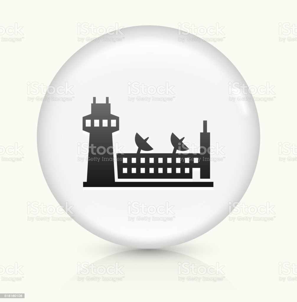 Airport icon on white round vector button vector art illustration